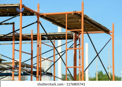 Scaffolding Elements Construction. Metal scaffolding tubes and bars. Construction site details.