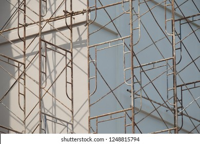 Scaffolding front of building background