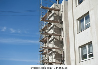 Scaffolding for house renovation.