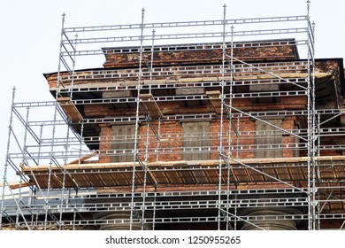 scaffolding installed on the buildi