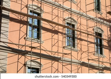 Scaffolding at the neoclassical house. Restoration of old building in Greece