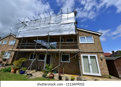 Scaffolding on the back of a house in the UK