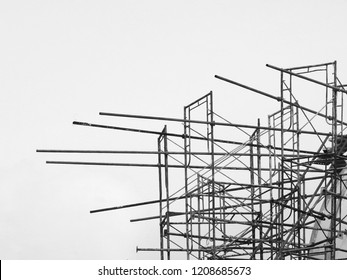 scaffolding on building in construction site