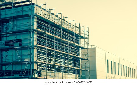 Scaffolding on a construction site. Commercial building