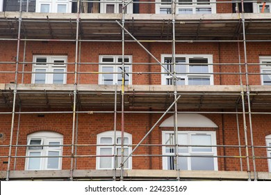 scaffolding on a house.
