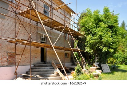 Scaffolding on the house, renovation of house