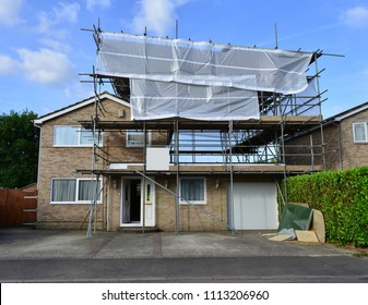 Scaffolding on a residential home in the UK