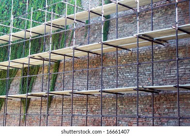 Scaffolding on a wall of the old citadel