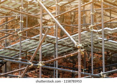 Scaffolding of repair ancient pagoda in construction site,scaffold for construction