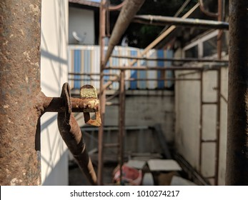 scaffolding rusted in under construction site