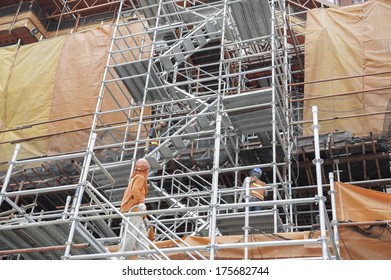 Scaffolding For Stair Access On Construction