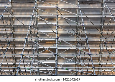 Scaffolding Steel Frame Installation in Construction Site, Scaffold Element Material for Structure Erection., Business Architecture and Construction Industry Under Constructed and Safety First Concept