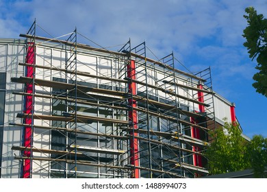 scaffolding under construction building exterior restoration scaffold structure