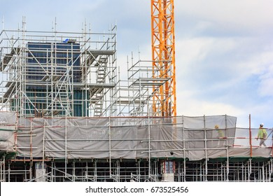 Scaffolding used on construction sites as a platform and as the temporary support. Used by construction workers to do work at height.