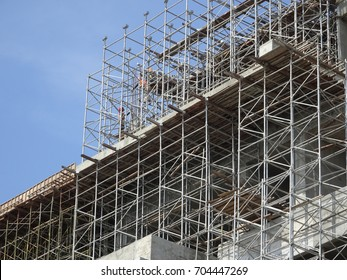 Scaffolding used as the temporary structure to support building structure during construction. Also used as working platform for workers to work.