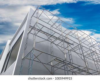 scaffolding and white building