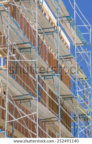 scaffolding wood framing construction site stock photo edit now