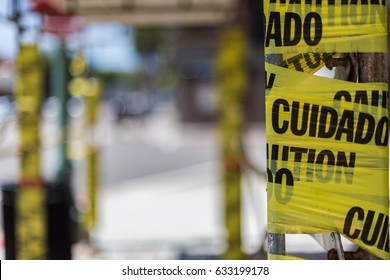 Scaffolding wrapped in caution tape