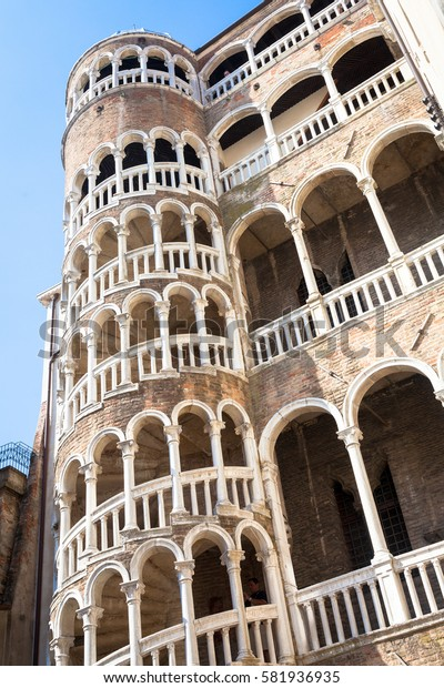 Scala Contarini del Bovolo - Venezia Italy / Detail of the Scala Contarini del Bovolo of Contarini Palace in the city of Venezia (UNESCO world heritage site), Veneto, Italy