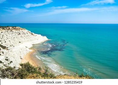 Scala dei Turchi white cliff and beautiful blue waters of Mediterranean Sea, Realmonte, Agrigento province, Sicily, Italy