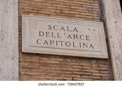 Scala dell'Arce Capitolina street name sign, located in Aventino district, Rome, Italy