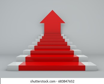Scale arrow, stair ramp, carpet with arrow-shaped. Success in work. 3d rendering