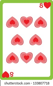 Scale hand drawn illustration of a playing card representing the eight of hearts, one element of a deck