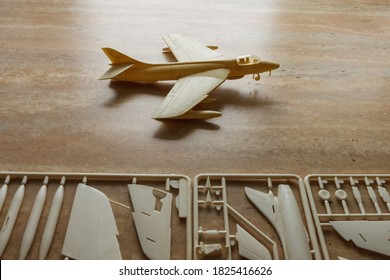 Scale model of the airplane fighter with details. Plastic assembly kit