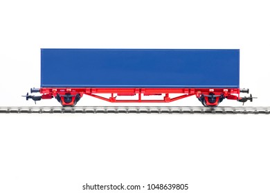 scale model of blue container wagon isolated on white background
