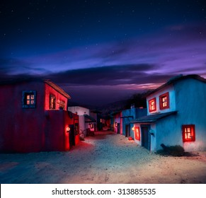 scale model of a mexican town at twilight