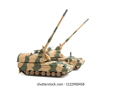 scale model self-propelled artillery isolated on white background