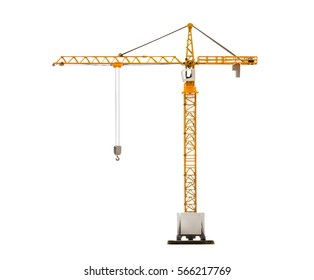 scale model of yellow tower crane isolated on white background