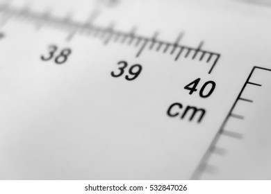 Scale number 40 cm on ruler
