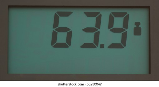 Scale, showing 64.9 kg on LCD display