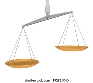 Scale state of imbalance white background.