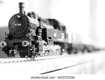 scale steam loco in black and white