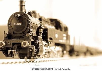 scale steam loco in sepia