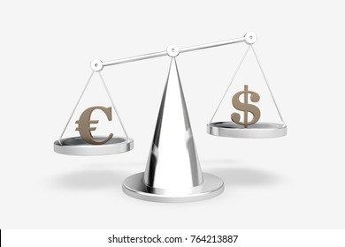 Scale with symbols of currencies euro and US dollar isolated on white background. 3D render