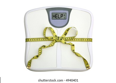 A scale with a tape measure wrapped around it tied in a bow. The display window says HELP!  White background. Dieting concept.