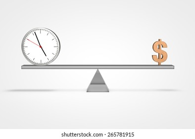 Scale weighing money and time 3D swiss design clock isolated