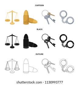 Scales of justice, cartridges, a bunch of keys, handcuffs.Prison set collection icons in cartoon,black,outline style bitmap symbol stock illustration web.