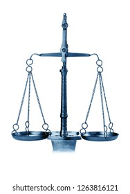scales of justice isolated, blue image