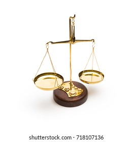 Scales of justice isolated on white background