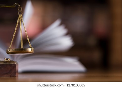 Scales of justice, law gavel