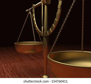 Scales of Justice on wood table V3