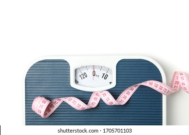Scales and measuring tape isolated on white background