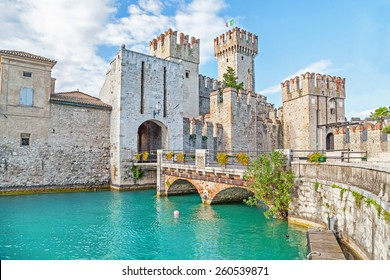Scaliger Castle (13th century) in Sirmione on Garda lake near Verona, Italy