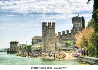 Scaliger Castle in Sirmione at the Lago di Garda in Italy in historically and playful architecture