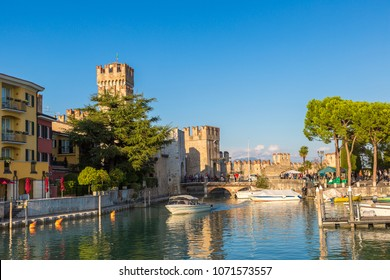 Scaliger castle in Sirmione on lake Garda in a beautiful summer day, Italy