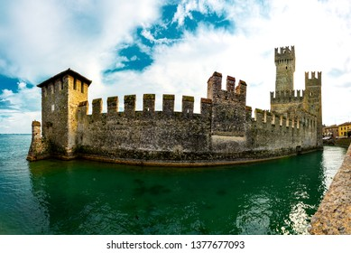 Scaliger Castle in Sirmione,Lago di Garda in Italy,Old Castle in the Historical town Sirmione on peninsula in Garda lake, Lombardy